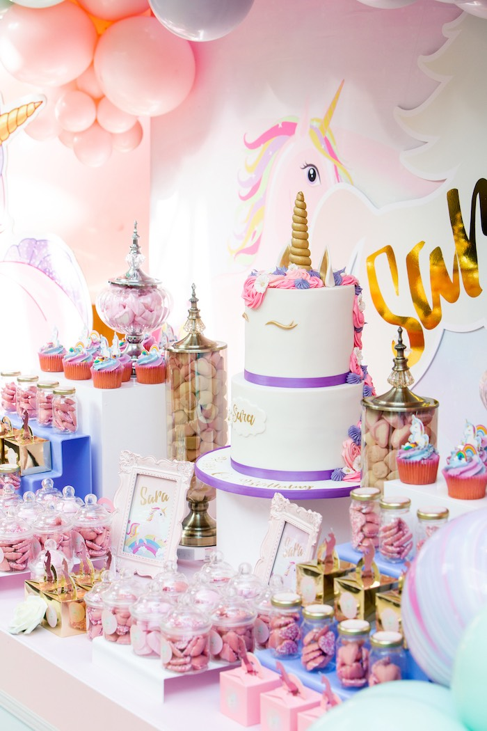 Unicorn Cake Table from a Pastel Unicorn Birthday Party on Kara's Party Ideas | KarasPartyIdeas.com (8)