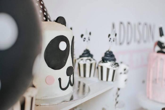 Panda Bear Cake from a Pink Panda Birthday Party on Kara's Party Ideas | KarasPartyIdeas.com (9)
