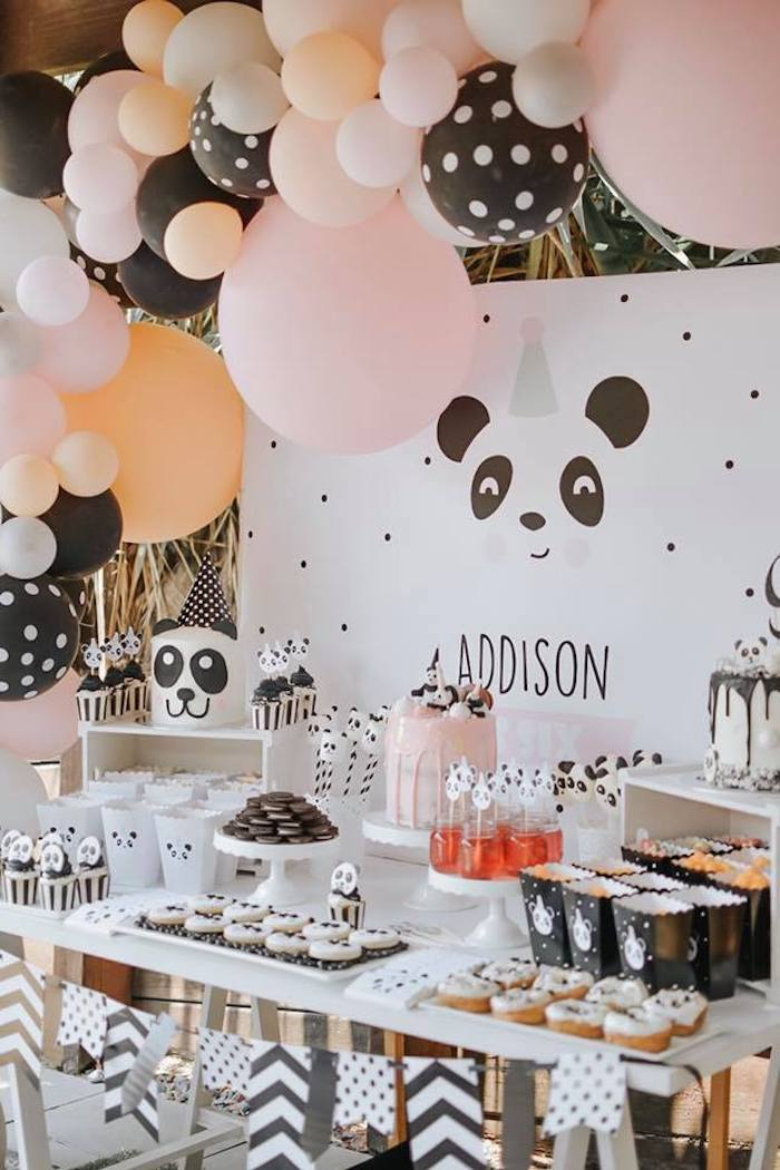 Girly Panda Bear Themed Dessert Table from a Pink Panda Birthday Party on Kara's Party Ideas | KarasPartyIdeas.com (6)