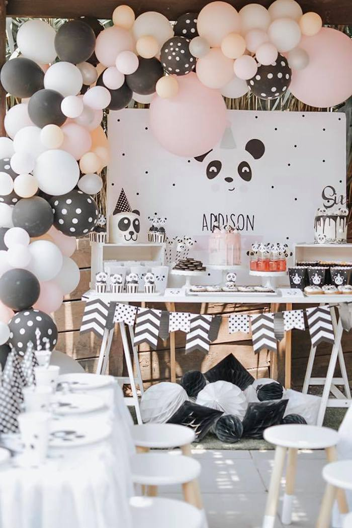 Panda Bear Party Tables from a Pink Panda Birthday Party on Kara's Party Ideas | KarasPartyIdeas.com (4)
