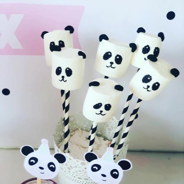 Panda Bear Marshmallow Pops from a Pink Panda Birthday Party on Kara's Party Ideas | KarasPartyIdeas.com