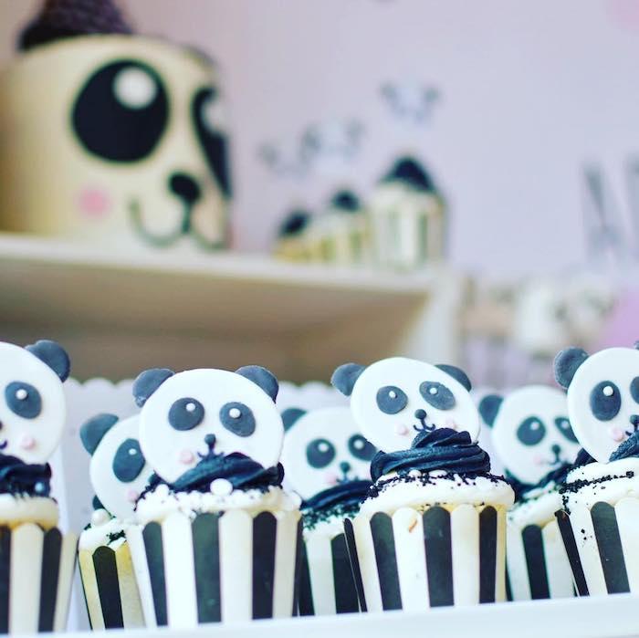 Panda Bear Cupcakes from a Pink Panda Birthday Party on Kara's Party Ideas | KarasPartyIdeas.com (24)