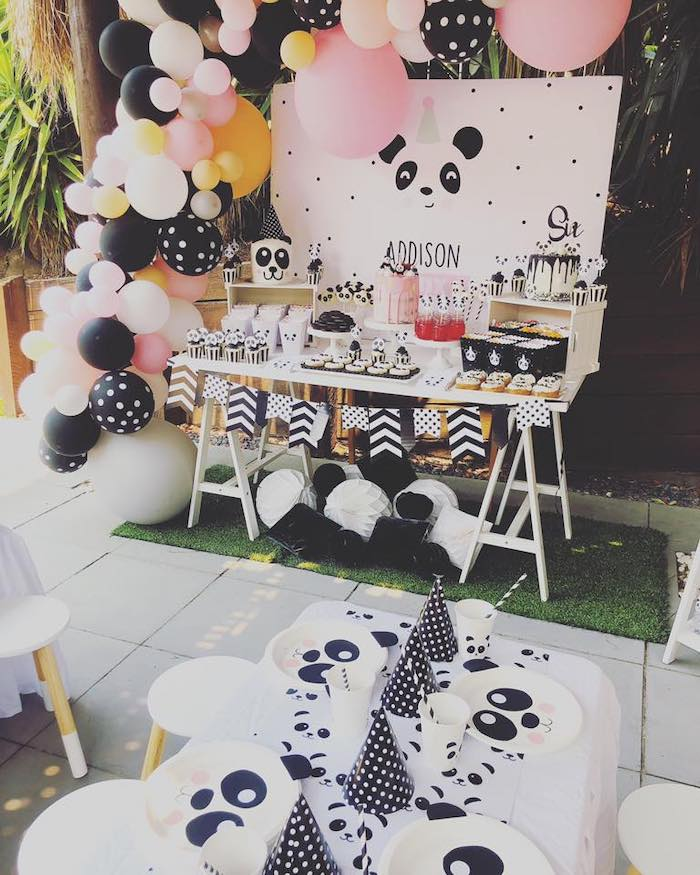 Panda Bear Party Tables from a Pink Panda Birthday Party on Kara's Party Ideas | KarasPartyIdeas.com (21)