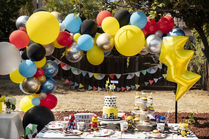 Superhero Party Table from a Superhero Birthday Party on Kara's Party Ideas | KarasPartyIdeas.com (15)