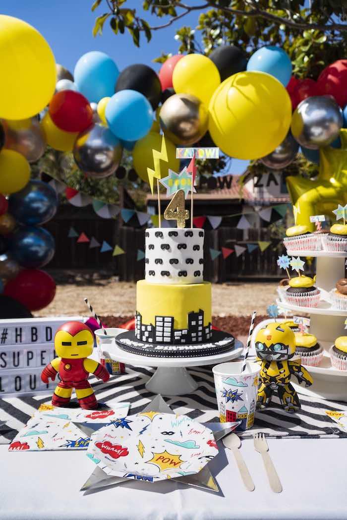 Superhero Party Table from a Superhero Birthday Party on Kara's Party Ideas | KarasPartyIdeas.com (14)