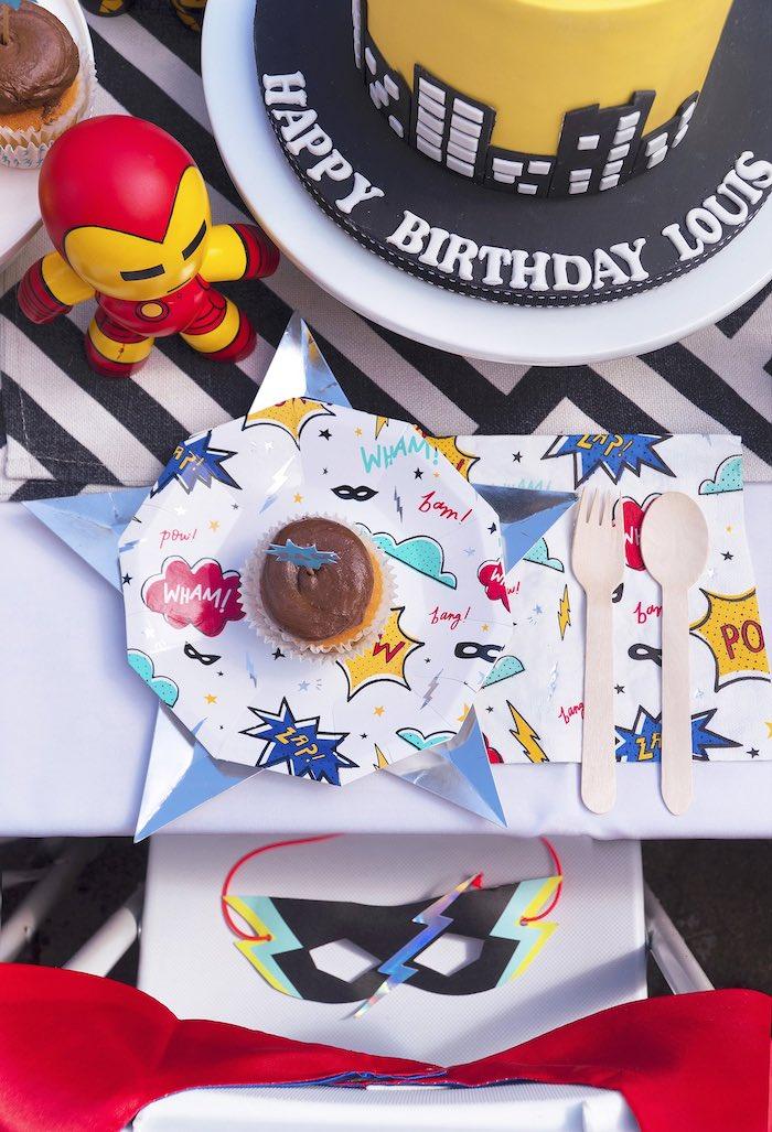 Superhero Partyware + Table Setting from a Superhero Birthday Party on Kara's Party Ideas | KarasPartyIdeas.com (12)