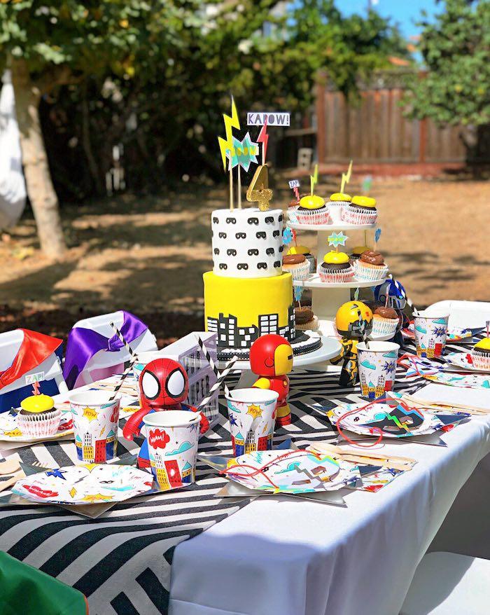 Superhero Party Table from a Superhero Birthday Party on Kara's Party Ideas | KarasPartyIdeas.com (10)