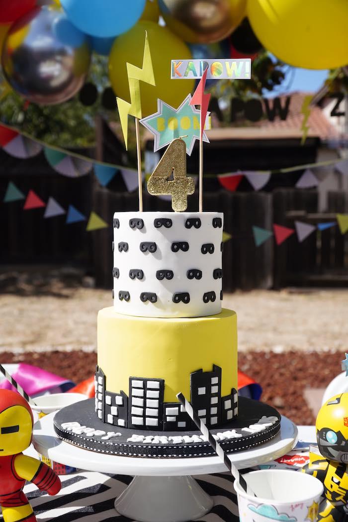 Black + Yellow Cityscape Superhero Cake from a Superhero Birthday Party on Kara's Party Ideas | KarasPartyIdeas.com (9)