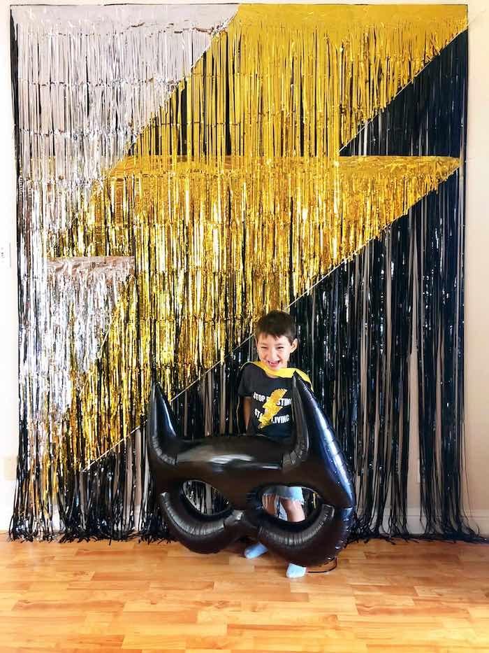 Lightning Bolt Tassel Backdrop from a Superhero Birthday Party on Kara's Party Ideas | KarasPartyIdeas.com (7)