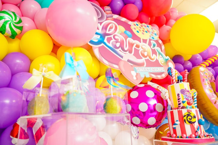 Sweet Shop Themed Balloon Backdrop from a Sweet Shop Birthday Party on Kara's Party Ideas | KarasPartyIdeas.com (11)