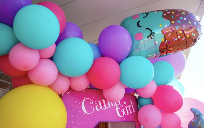 Candy Girl Balloon Banner from a Sweet Shop Birthday Party on Kara's Party Ideas | KarasPartyIdeas.com (8)