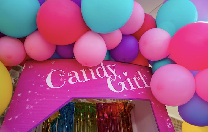 Candy Girl Balloon Banner from a Sweet Shop Birthday Party on Kara's Party Ideas | KarasPartyIdeas.com (7)