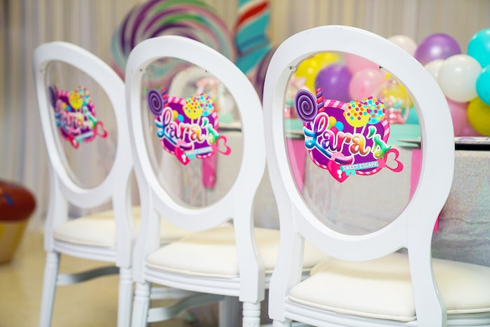 Custom Decal Chair Backs from a Sweet Shop Birthday Party on Kara's Party Ideas | KarasPartyIdeas.com (34)
