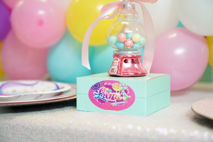 Gumball Machine Table Setting from a Sweet Shop Birthday Party on Kara's Party Ideas | KarasPartyIdeas.com (32)
