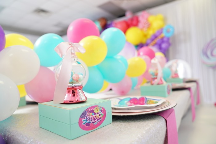 Gumball Table Setting + Sweet Shop Guest Table from a Sweet Shop Birthday Party on Kara's Party Ideas | KarasPartyIdeas.com (30)