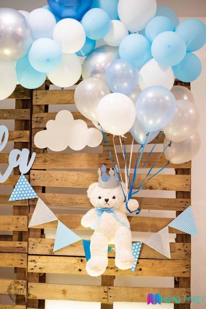 Teddy Bear in the Clouds - Pallet Board Backdrop from a Teddy Bear Prince Birthday Party on Kara's Party Ideas | KarasPartyIdeas.com (16)