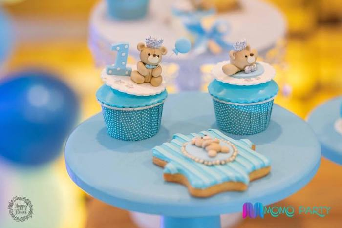 Teddy Bear Cupcakes + Cookie from a Teddy Bear Prince Birthday Party on Kara's Party Ideas | KarasPartyIdeas.com (15)