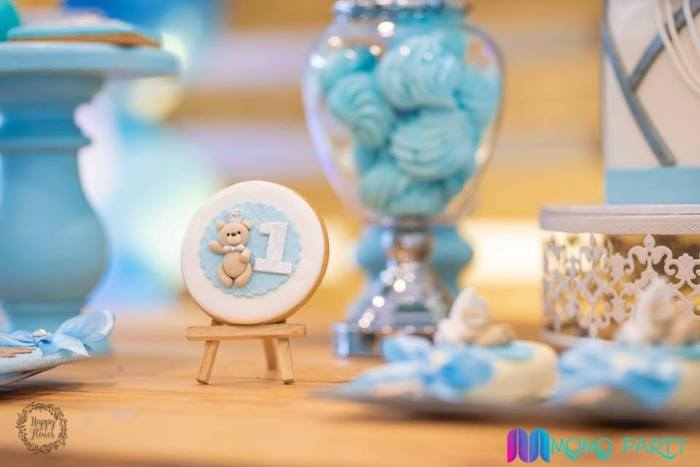 Teddy Bear Sugar Cookie from a Teddy Bear Prince Birthday Party on Kara's Party Ideas | KarasPartyIdeas.com (14)