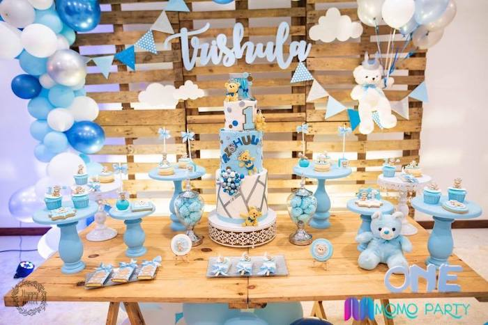 Teddy Bear Themed Dessert Table from a Teddy Bear Prince Birthday Party on Kara's Party Ideas | KarasPartyIdeas.com (13)