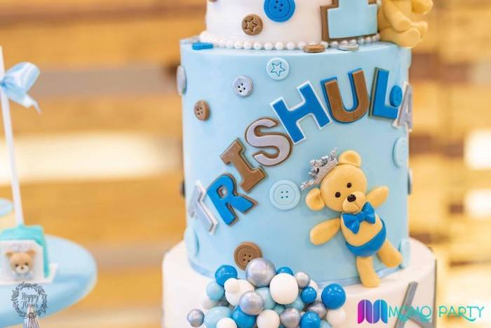 Teddy Bear Cake Detail from a Teddy Bear Prince Birthday Party on Kara's Party Ideas | KarasPartyIdeas.com (12)