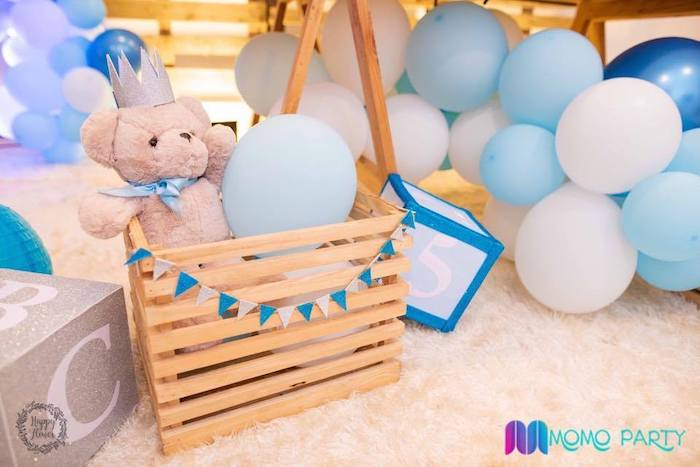 Teddy Bear Crate Decoration from a Teddy Bear Prince Birthday Party on Kara's Party Ideas | KarasPartyIdeas.com (11)