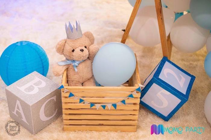 ABC/123 Teddy Bear Crate Decoration from a Teddy Bear Prince Birthday Party on Kara's Party Ideas | KarasPartyIdeas.com (10)