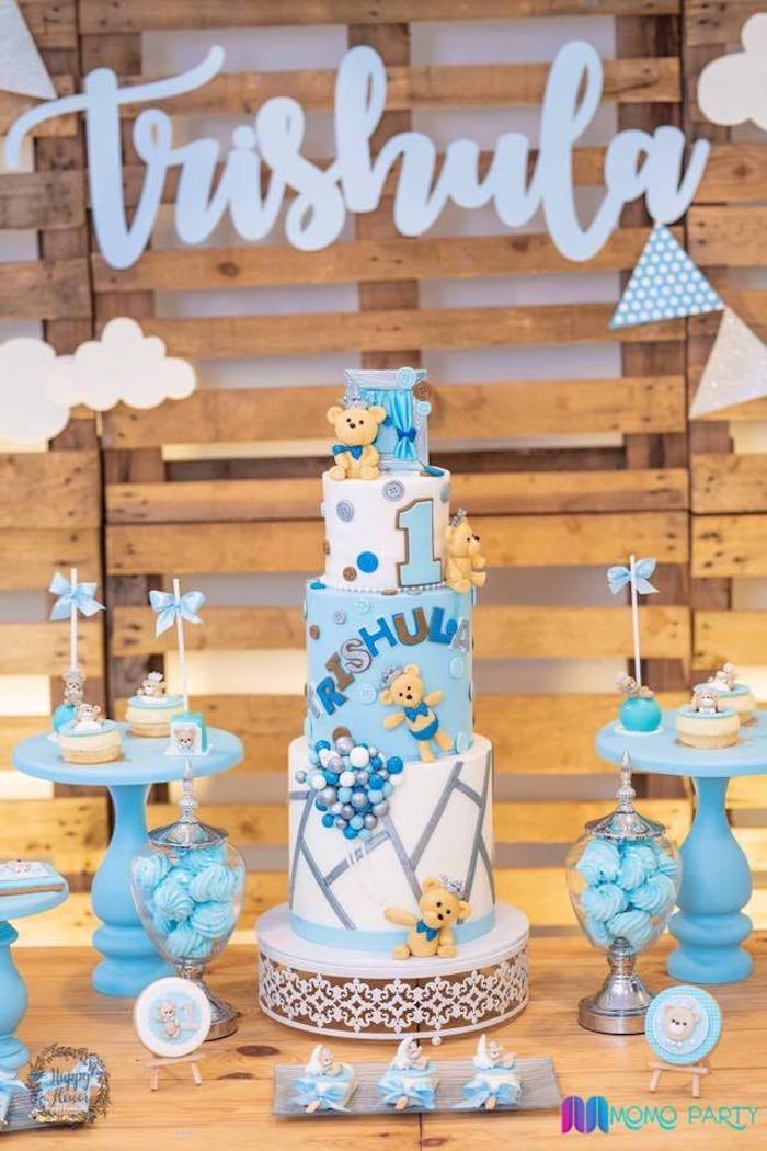 Teddy Bear Themed Cake Table from a Teddy Bear Prince Birthday Party on Kara's Party Ideas | KarasPartyIdeas.com (28)