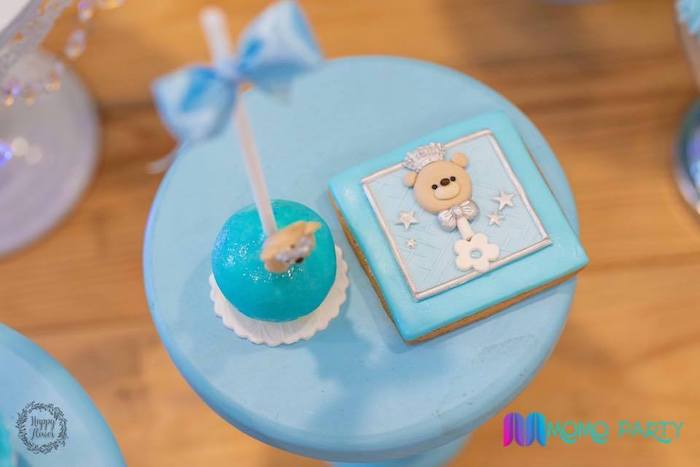 Teddy Bear Rattle Cookie from a Teddy Bear Prince Birthday Party on Kara's Party Ideas | KarasPartyIdeas.com (7)
