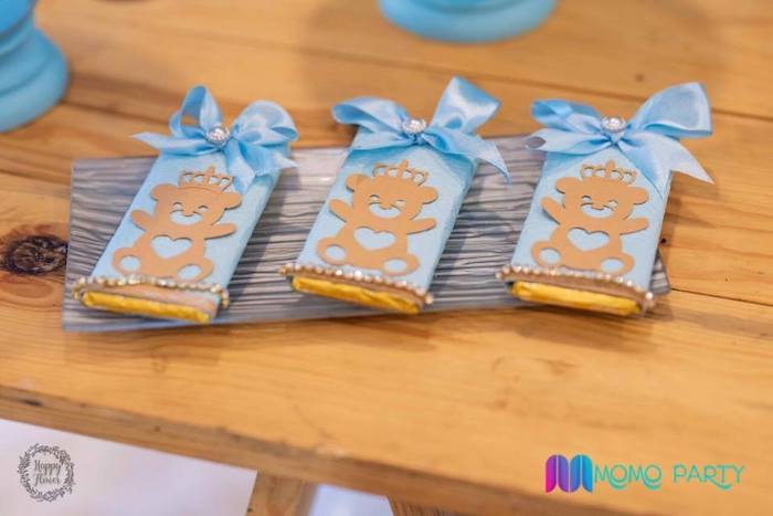 Teddy Bear-labeled Candy Bars from a Teddy Bear Prince Birthday Party on Kara's Party Ideas | KarasPartyIdeas.com (6)