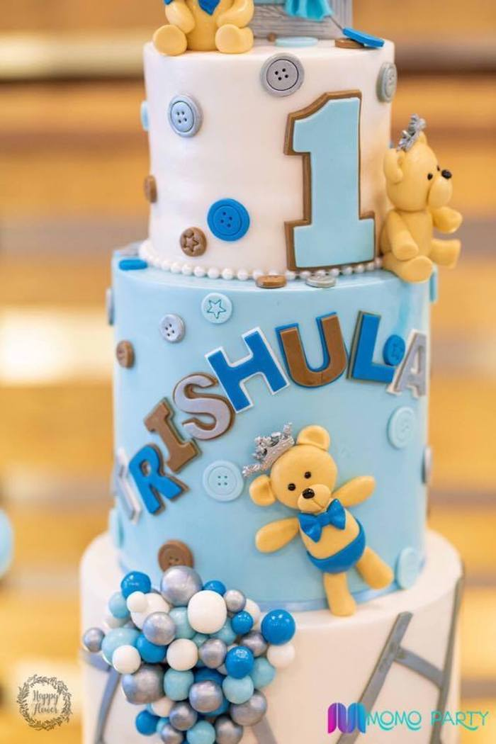Teddy Bear Cake Detail from a Teddy Bear Prince Birthday Party on Kara's Party Ideas | KarasPartyIdeas.com (27)