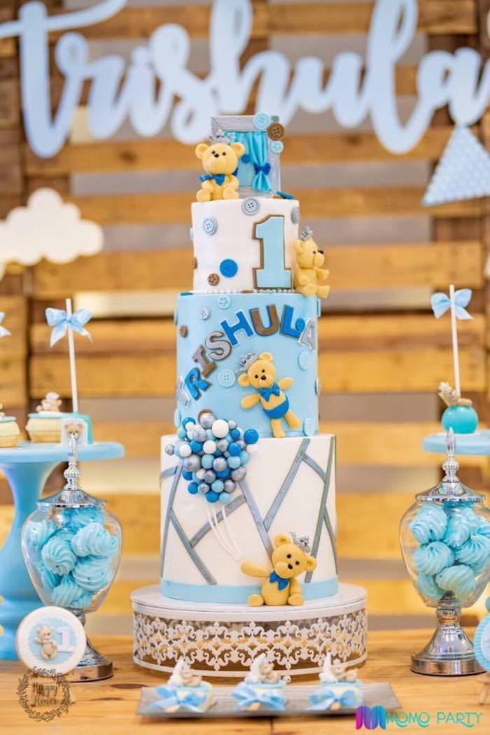 Teddy Bear-inspired Birthday Cake from a Teddy Bear Prince Birthday Party on Kara's Party Ideas | KarasPartyIdeas.com (25)