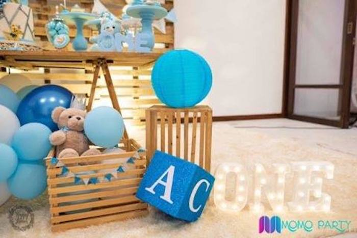 Crate and Block Decor from a Teddy Bear Prince Birthday Party on Kara's Party Ideas | KarasPartyIdeas.com (24)