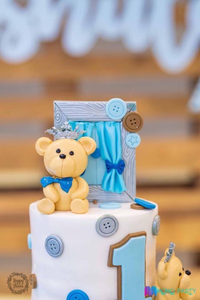 Teddy Bear Cake Detail from a Teddy Bear Prince Birthday Party on Kara's Party Ideas | KarasPartyIdeas.com (23)