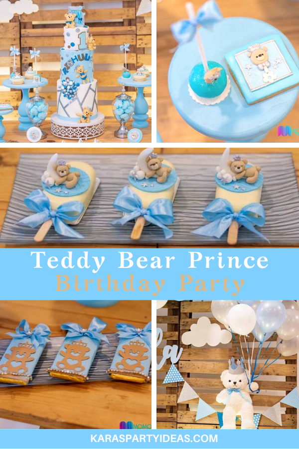 Teddy Bear Prince Birthday Party via Kara's Party Ideas - KarasPartyIdeas.com