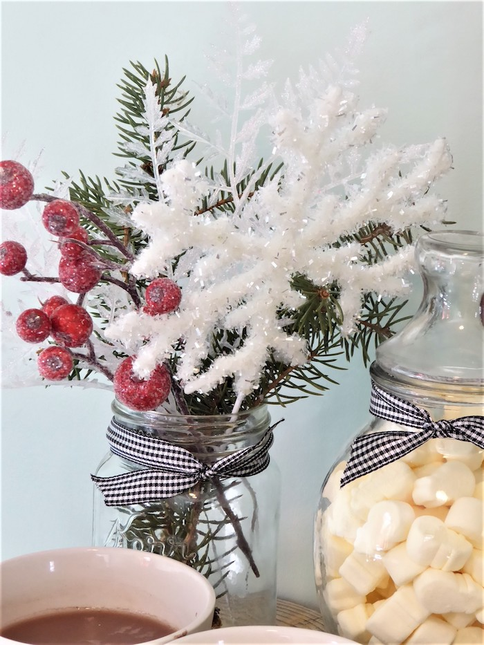 Christmas Vase from a DIY Christmas Hot Cocoa Bar on Kara's Party Ideas | KarasPartyIdeas.com