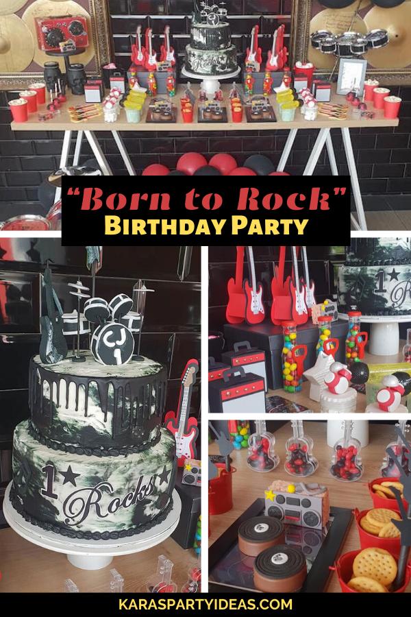 """Born to Rock"" Birthday Party via Kara's Party Ideas - KarasPartyIdeas.com"