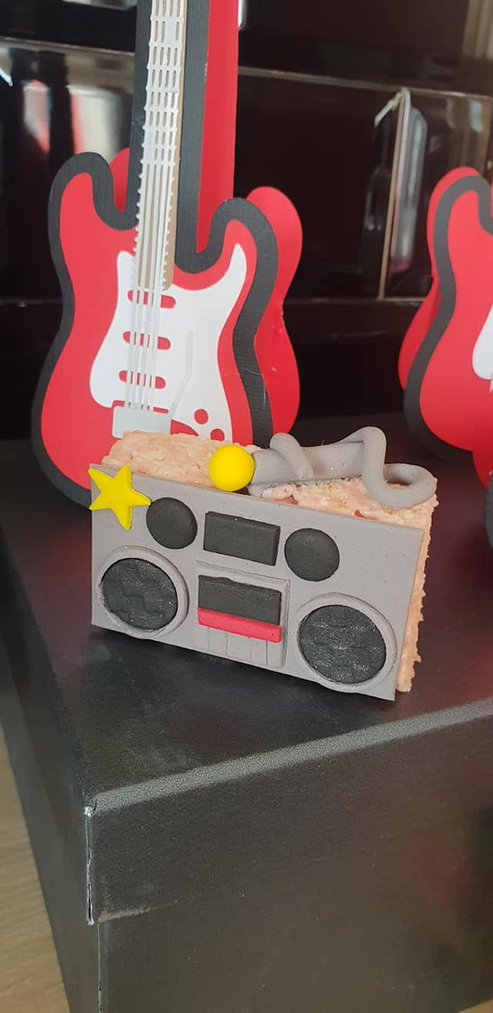 "Boombox Krispie Treat from a ""Born to Rock"" Birthday Party on Kara's Party Ideas 
