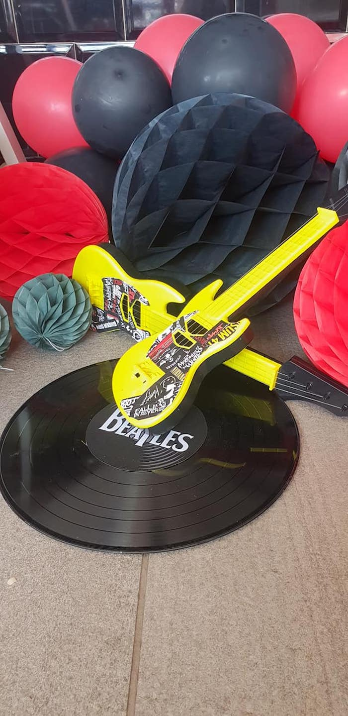 "Vintage Record + Guitar Decoration from a ""Born to Rock"" Birthday Party on Kara's Party Ideas 