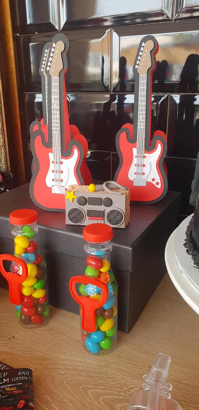 "Rock n' Roll Themed Sweets and Favors from a ""Born to Rock"" Birthday Party on Kara's Party Ideas 