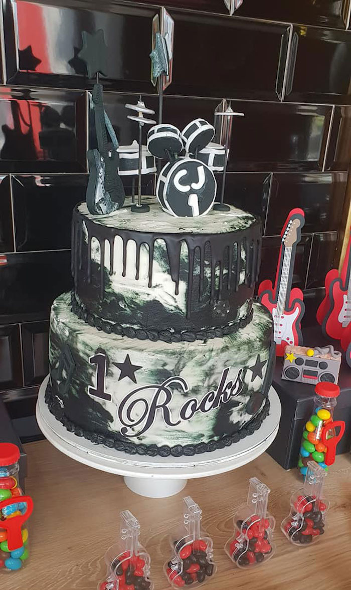 "Rock & Roll Themed Birthday Cake from a ""Born to Rock"" Birthday Party on Kara's Party Ideas 
