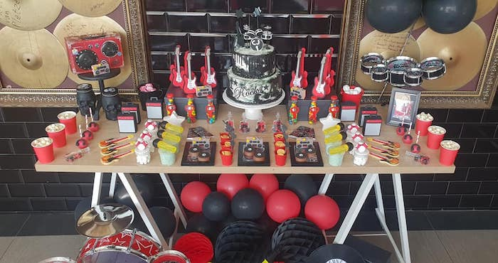 "Rock & Roll Themed Dessert Table from a ""Born to Rock"" Birthday Party on Kara's Party Ideas 