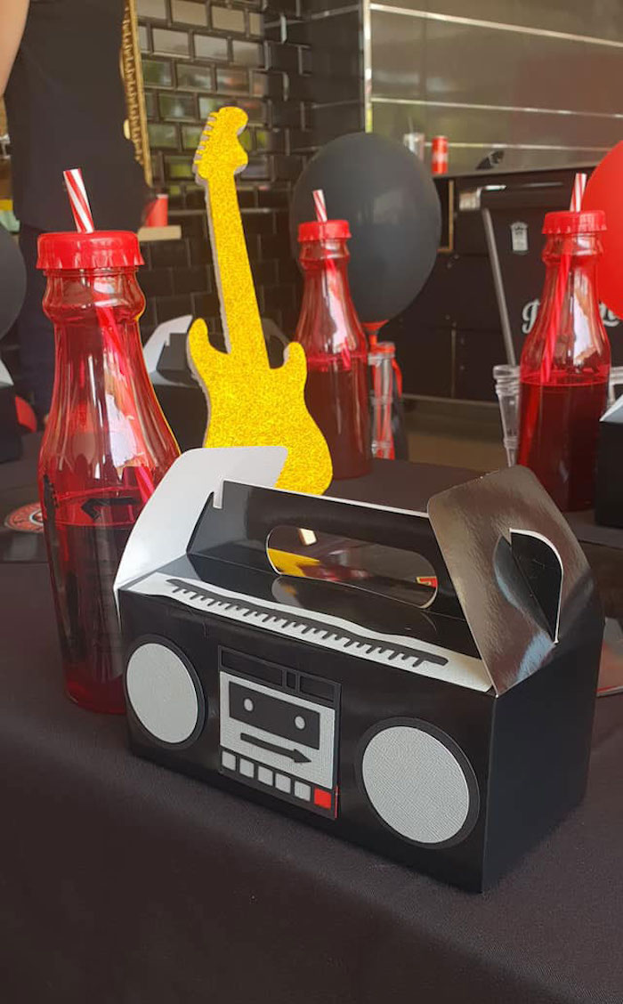 "Boombox Gable Lunchbox Table Setting from a ""Born to Rock"" Birthday Party on Kara's Party Ideas 
