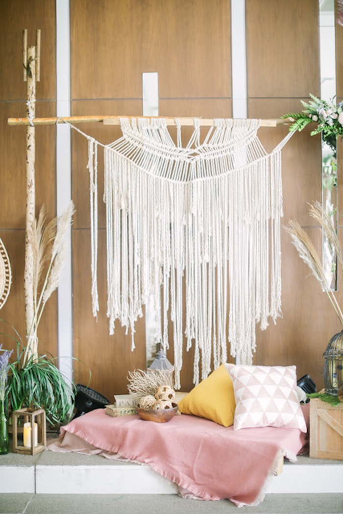 Macrame + Decor from a Boho Birthday Party on Kara's Party Ideas | KarasPartyIdeas.com (28)