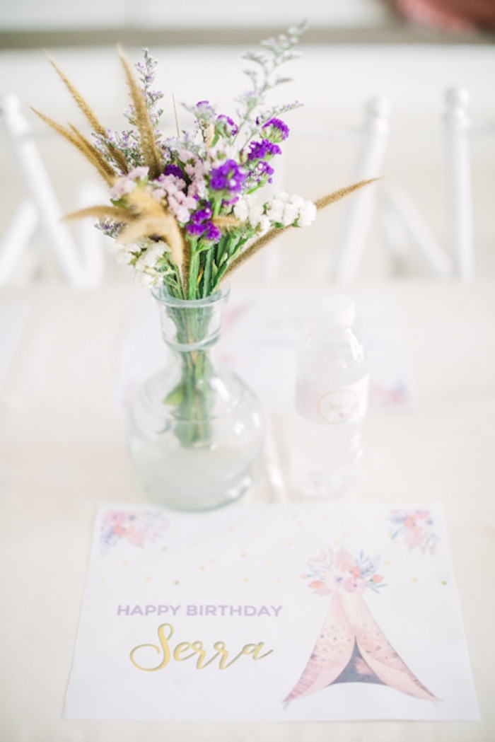 Floral Centerpiece from a Boho Birthday Party on Kara's Party Ideas | KarasPartyIdeas.com (26)