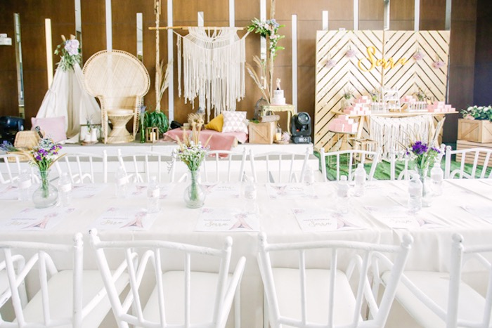 Boho-inspired Guest Table from a Boho Birthday Party on Kara's Party Ideas | KarasPartyIdeas.com (25)