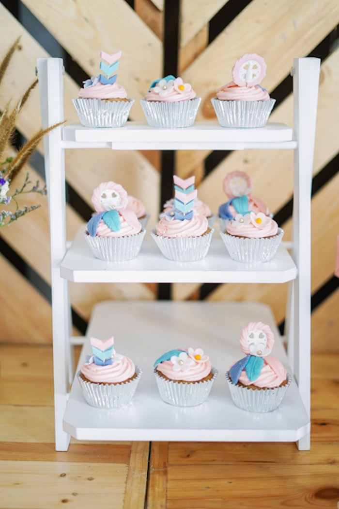 Boho Themed Cupcakes from a Boho Birthday Party on Kara's Party Ideas | KarasPartyIdeas.com (15)