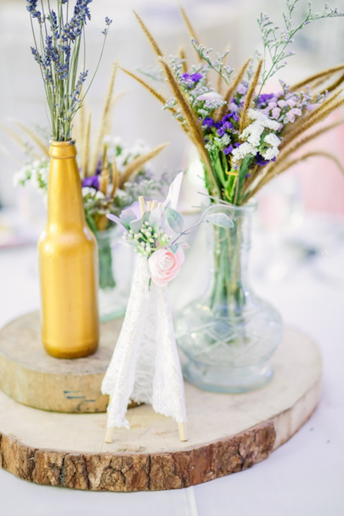Boho Themed Table Centerpiece from a Boho Birthday Party on Kara's Party Ideas | KarasPartyIdeas.com (14)