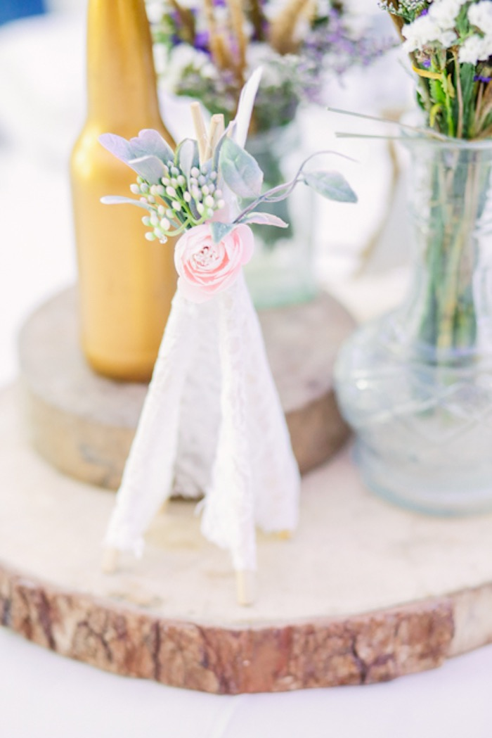 Mini Lace Teepee Decoration with Flower Top from a Boho Birthday Party on Kara's Party Ideas | KarasPartyIdeas.com (13)