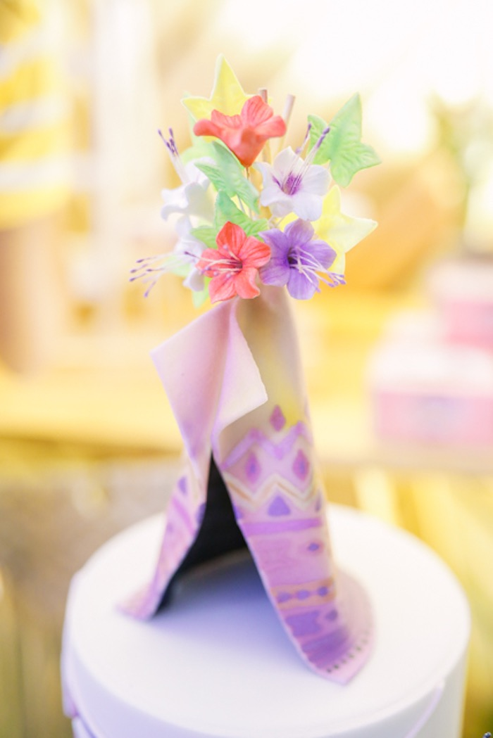 Boho Teepee Cake Topper from a Boho Birthday Party on Kara's Party Ideas | KarasPartyIdeas.com (5)