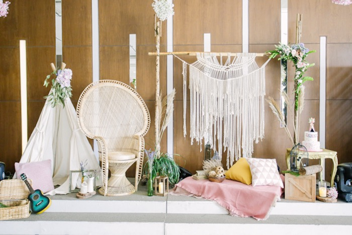 Boho Themed Stage from a Boho Birthday Party on Kara's Party Ideas | KarasPartyIdeas.com (30)